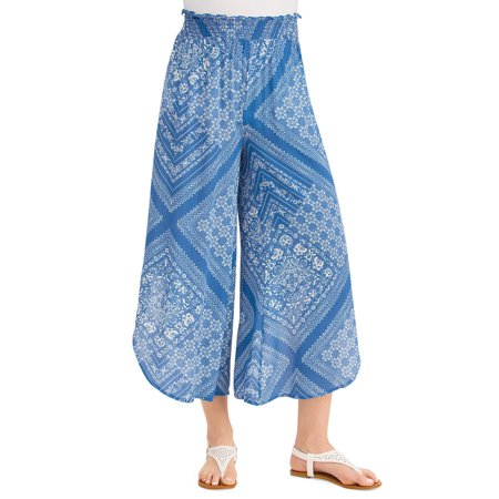 women's printed tulip hem faux skirt pull-on elastic waist pants, large, navy