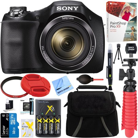 Sony Cyber-shot DSC-H300 Black Digital Camera + 32GB Memory Card, Battery & Accessory