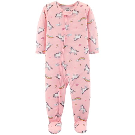 Carter's Baby Girls' 1 Pc Comfy Fit Poly Unicorn Rainbow Footed Sleeper 12 Month