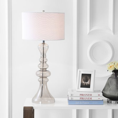 Madeline 35 Quot Curved Glass Led Table Lamp Smoke Gray