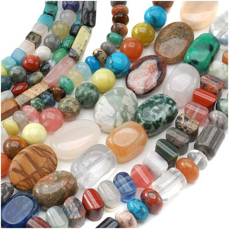 Gemstone Bead Lot Mix #2 Assorted Shapes, Sizes, Colors 70 Inches Total - Gem Shapes