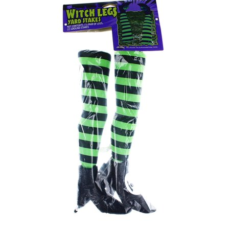 Witch Legs Yard Stakes Green/Black Halloween Décor for $<!---->