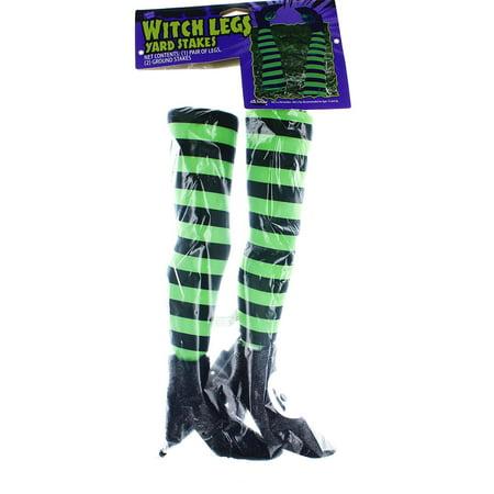 Witch Legs Yard Stakes Green/Black Halloween Décor - Halloween Yard Art Designs
