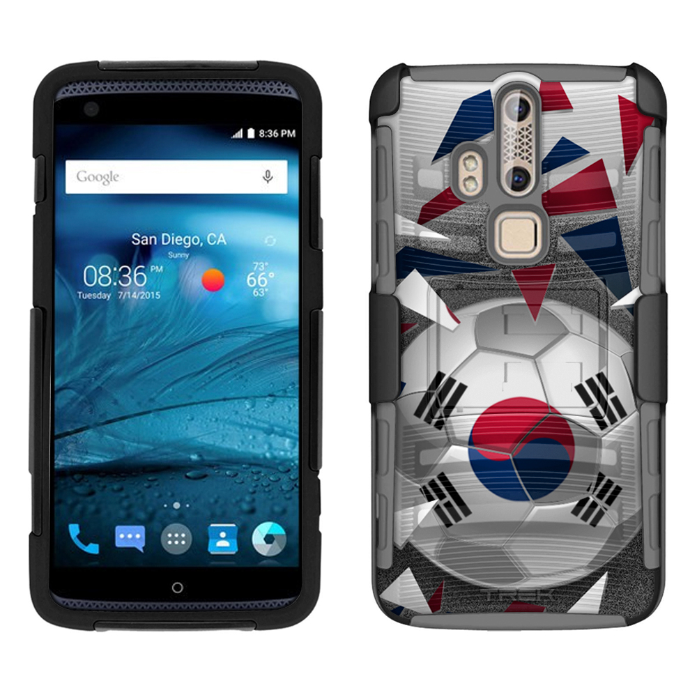 ZTE Axon Pro Armor Hybrid Case Soccer Ball Korea Flag 2 Piece Case with Holster... by Trek Media Group