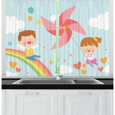 Pinwheel Curtains 2 Panels Set, Children Riding on Rainbow Dreamy Heart Shaped Flowers Fairy Tale Nursery Kids, Window Drapes for Living Room Bedroom, 55W X 39L Inches, Multicolor, by Ambesonne