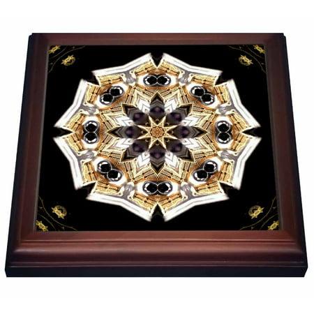 3dRose Black Diamond Flower, Trivet with Ceramic Tile, 8 by -