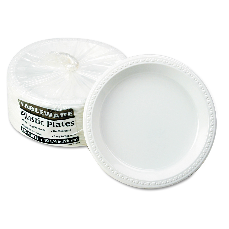 "Tablemate Plastic Dinnerware, Plates, 10 1/4"" dia, White, 125/Pack"