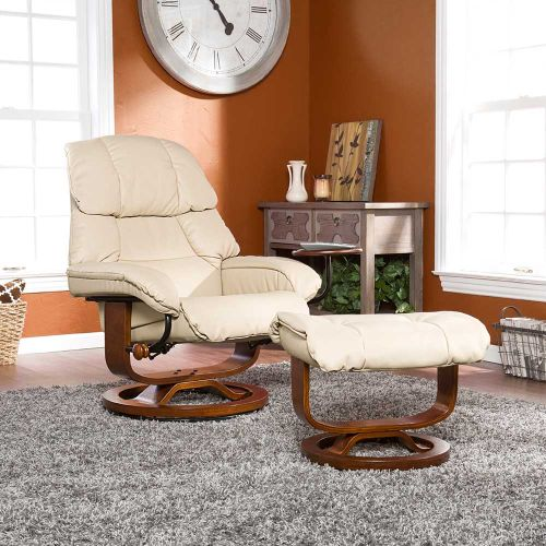 Canyon Lake Leather Recliner and Ottoman-Taupe