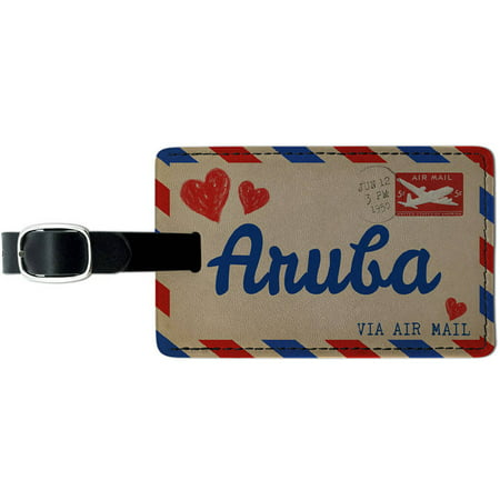 Air mail Postcard Love for Aruba Leather Luggage ID Tag Suitcase Carry-On