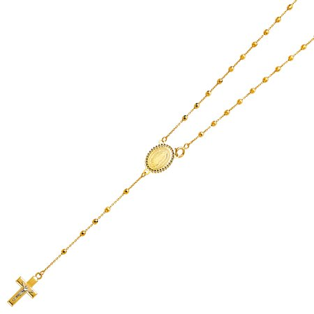 Real 14K Solid Yellow Gold 2.5mm Ball Virgen Guadalupe Rosary Necklace Religious Cross Crucifix Jesus Rosario Mother Mary 20 Inches Mother Theresa Rosary