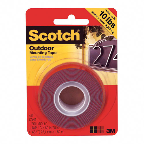 Scotch Outdoor Mounting Tape, 1 in x 60 in, 1 Roll/Pack