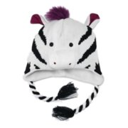 Aquarius Girls Black & White Striped Zebra Peruvian Critter Hat