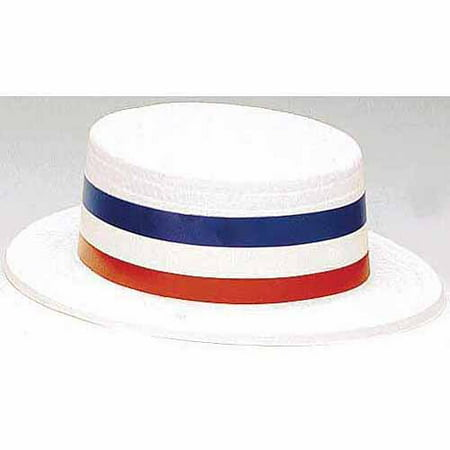 Patriotic Plastic Skimmer Hat Adult Halloween Costume Accessory