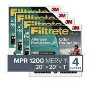 Filtrete 20x20x1, Allergen Plus Odor Reduction HVAC Furnace Air Filter, 1200 MPR, Pack of 4 Filters
