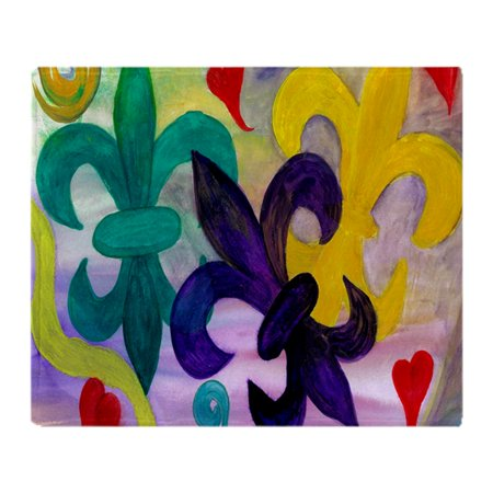 Light Up Mardi Gras Throws (CafePress - Mardi Gras Fleur De Lis - Soft Fleece Throw Blanket, 50
