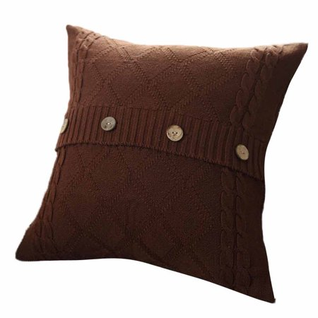 - Knitting Button Fashion Throw Pillow Cases Cafe Sofa Cushion Cover Home Decor