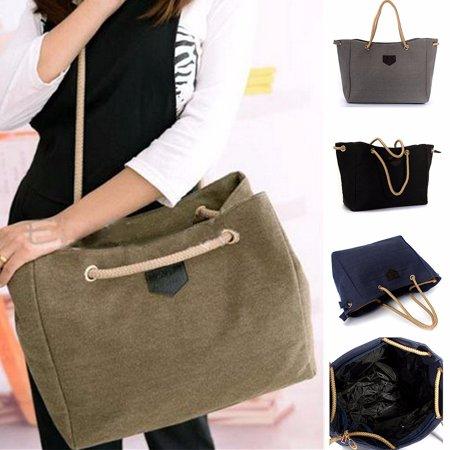 Womens Canvas Beach Bag Handbag Shoulder Bag Shopping Bag Large Capacity