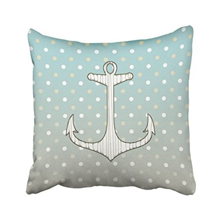Tan Polka Dot (WinHome Square Throw Pillow Covers Vintage Nautical Anchor Blue Tan White Polka Dots Pillowcases Polyester 18 X 18 Inch With Hidden Zipper Home Sofa Cushion Decorative Pillowcase )