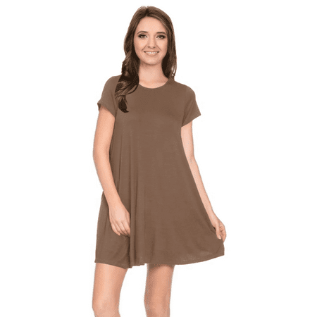 Womens Casual Short Sleeve T Shirt Dress Flowy Tunic Dress with Pockets - USA