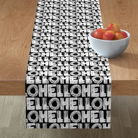 Image of Table Runner Monochrome Black And White Black White Text Writing Cotton Sateen