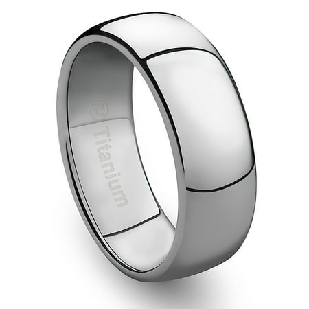 Mens Wedding Band in Titanium 8MM Ring Classic Style and Polished Finish