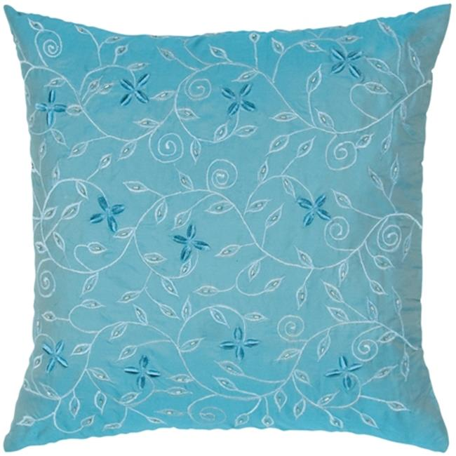 Indias Heritage C531 Poly Taffeta Embroidered With Hand Beading Pillow, Teal Blue
