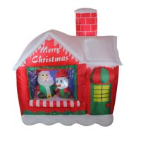 5.5' Red and White Inflatable Santa's Workshop Lighted Christmas Outdoor Decoration