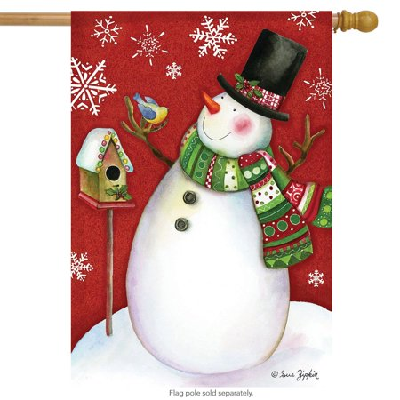Birdhouse Flag (Briarwood Lane Frosty Friends Christmas House Flag Snowman Birdhouse 28