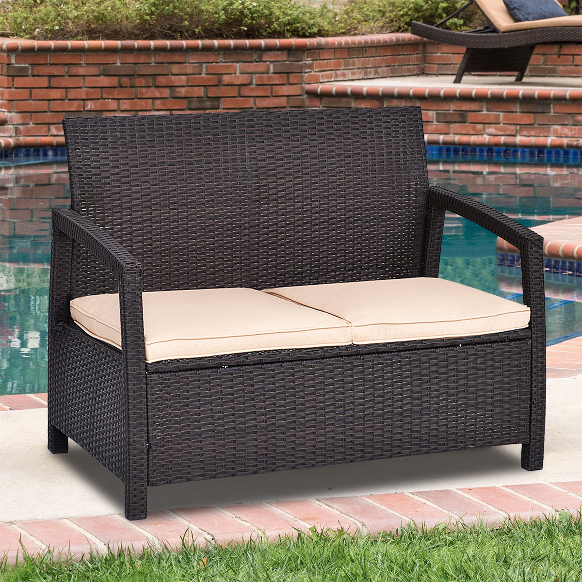 Costway Outdoor Rattan Loveseat Bench Couch Chair With Cushions Patio  Furniture Brown