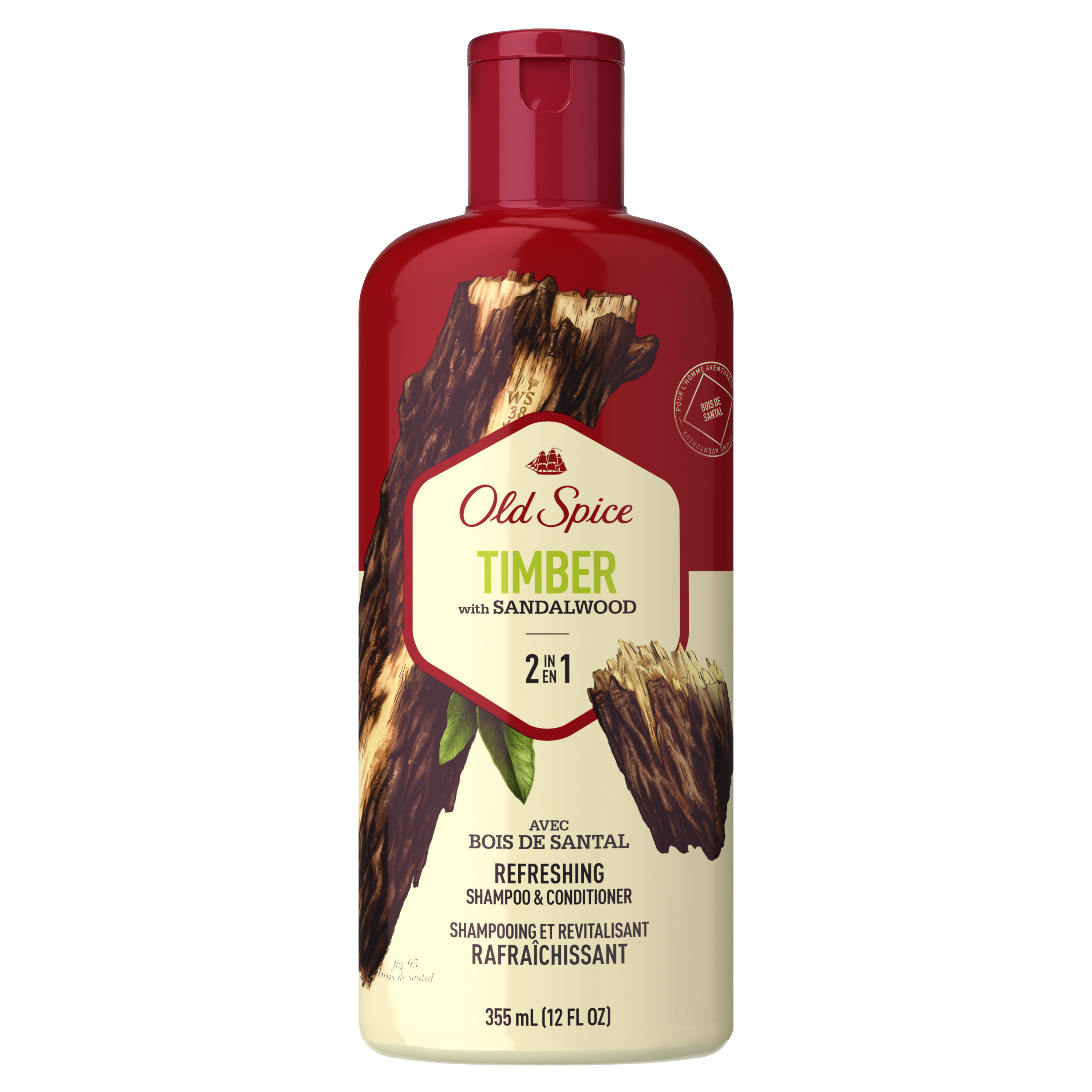 Old Spice Timber with Sandalwood Men's 2 in 1 Refreshing Shampoo & Conditioner, 12 fl oz