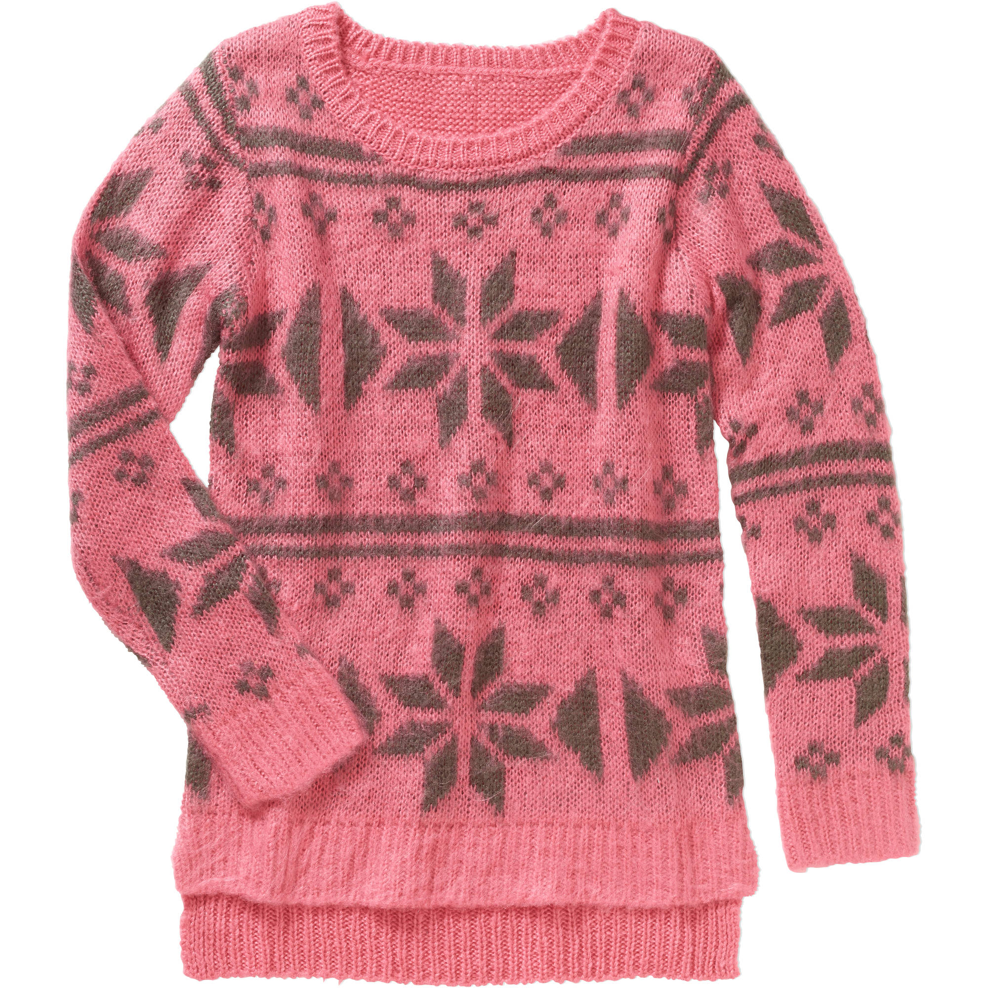 Derek Heart Girls Jaquard Hi-Lo Sweater
