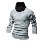 Men Pullover Long Sleeves Contrast Collar Stretchy Knit Shirt Light Gray M
