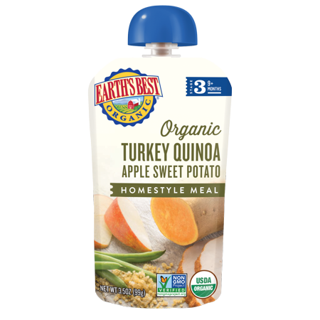 Earth's Best Organic Stage 3 Baby Food, Turkey Quinoa Apple Sweet Potato, 3.5 oz.