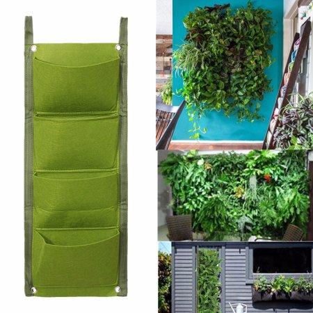 2PCS 4 Pockets Vertical Garden Wall Planter Planting Hanging Flower ...