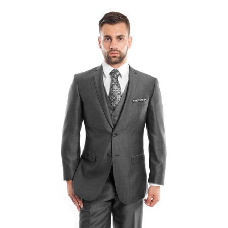 Notch Lapel Suit (Mens Two Button Ultra Slim Fit Solid Herringbone Notch Lapel Suit )