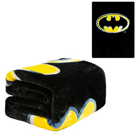 Flannel Fleece Plush Blanket - Batman Emblem  - QUEEN BED 79
