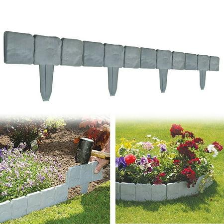 10pcs Garden Lawn Edging Border Flagstone Borderstone Decorative Fence Cobbled Stone Effect Patio Flower Bed