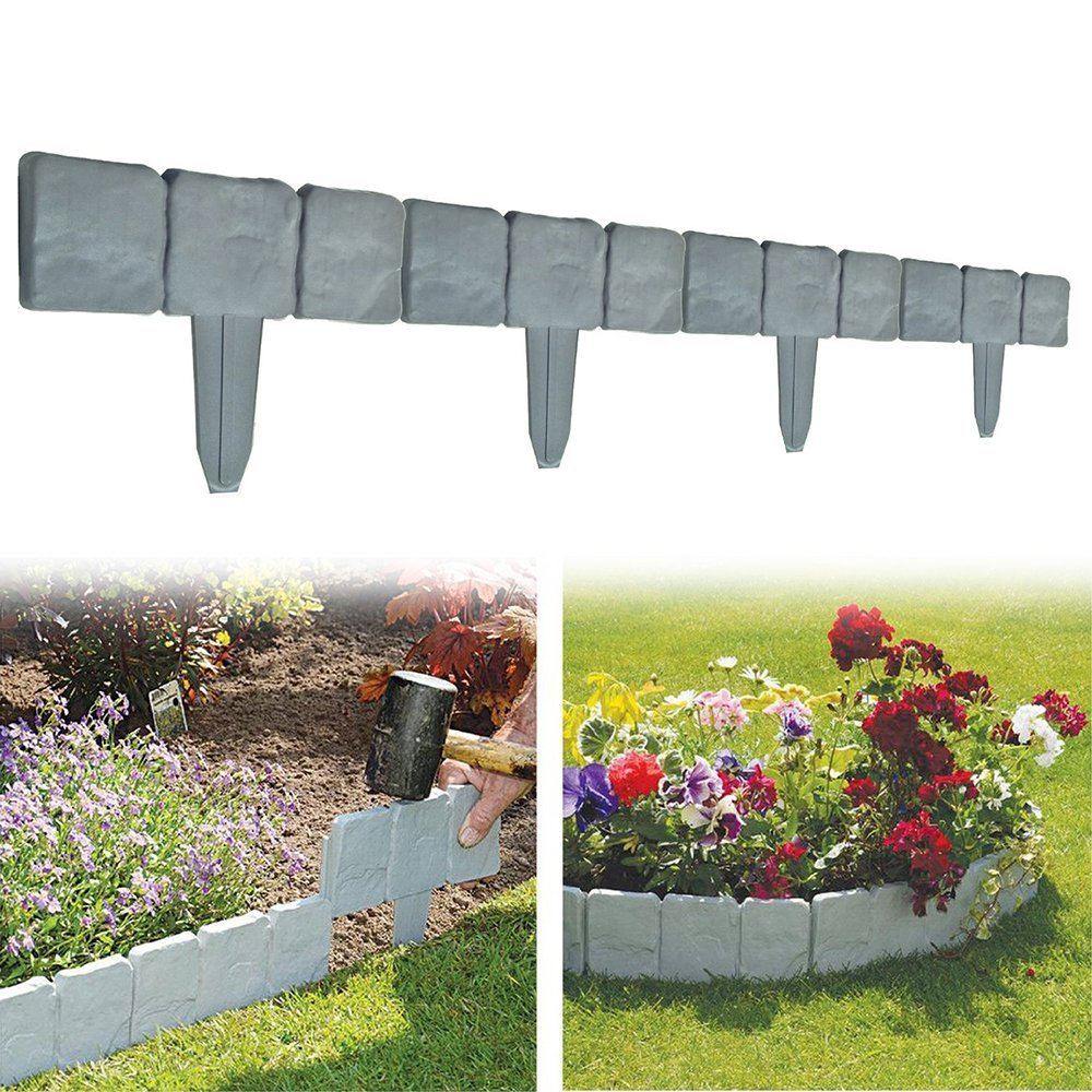 Gentil 10PCS Garden Lawn Edging Border Flagstone Borderstone Decorative Garden  Fence Cobbled Stone Effect Patio Flower Bed