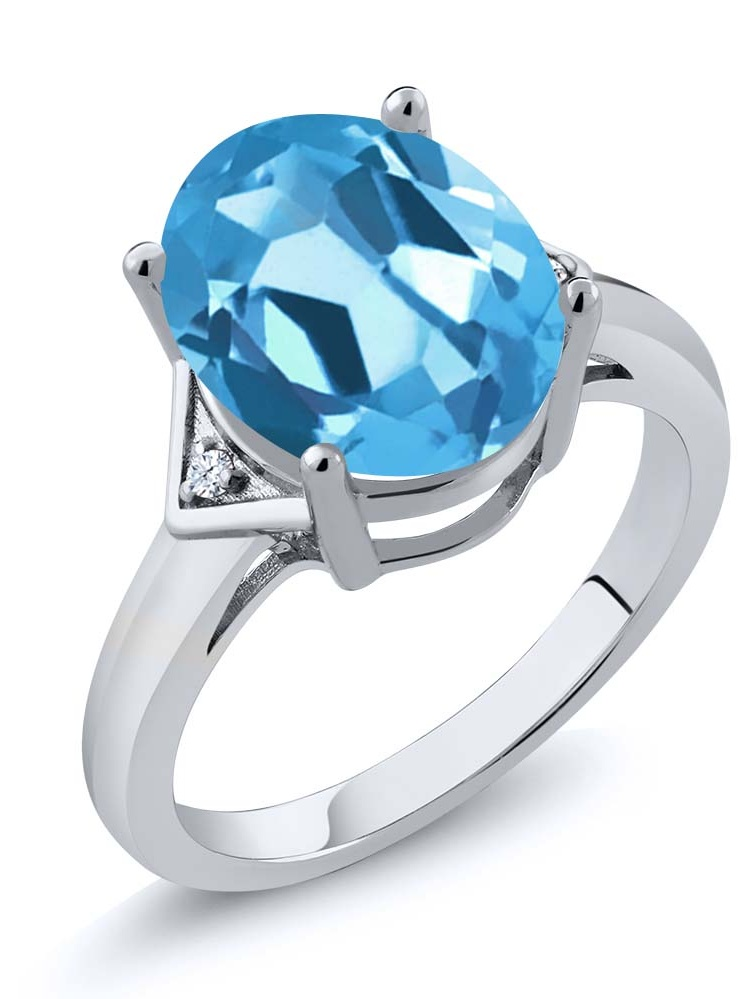 5.02 Ct Oval Swiss Blue Topaz 925 Sterling Silver Ring by