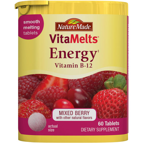 Nature Made Vitamelts Energy Vitamin B-12 Mixed Berry Smooth Dissolve Tablet 2878