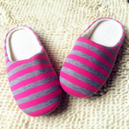 Unisex Couple Indoor Soft Non-Slip Floor Slippers Striped House Home