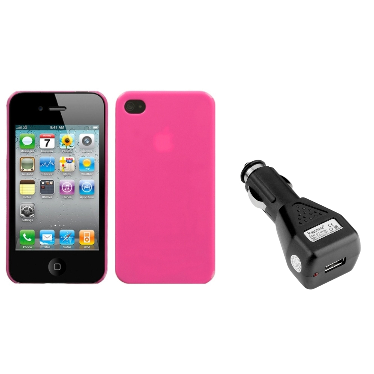 Insten Natural Pink Back Case For iPhone 4 4S + USB Car Charger Adapter