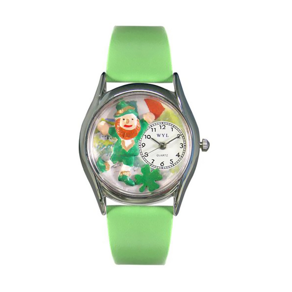 Whimsical St.Patrick's Day w/ Irish Flag Green Leather And Silvertone Watch