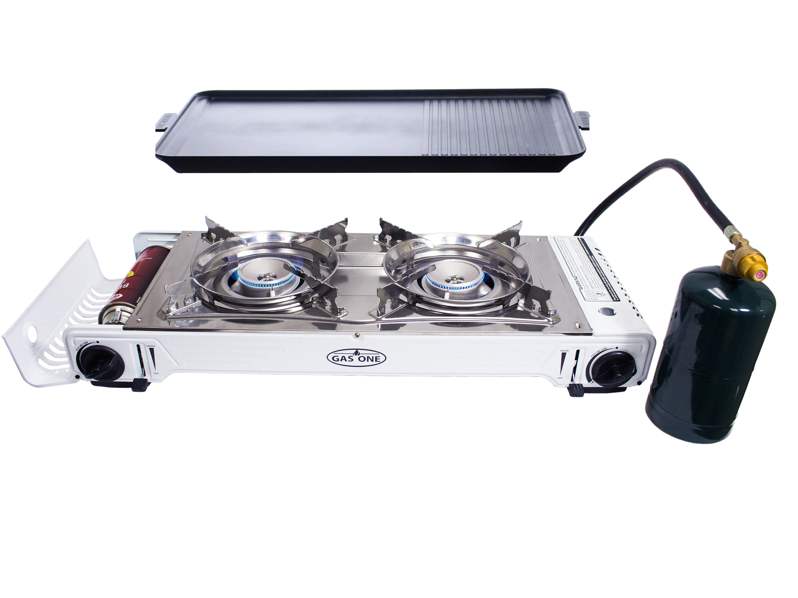 GAS ONE GS-2000 DUEL FUEL Premium Stainless Steel Twin Portable ...