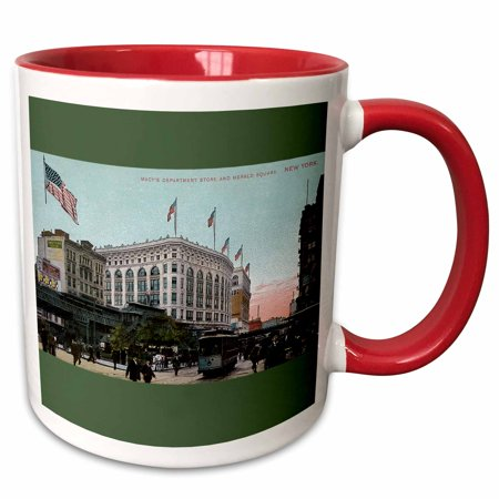3dRose Macys and Herald Square New York City Vintage Postcard Reproduction - Two Tone Red Mug, 11-ounce