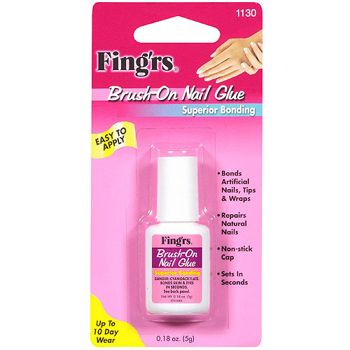 Fing'rs Brush-On Nail Glue, 1130, 0.18 oz