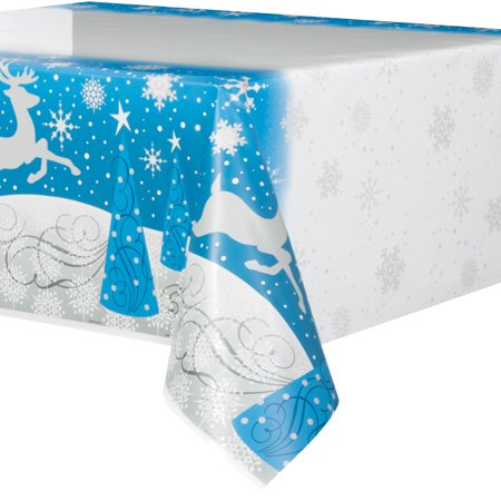 Plastic Silver Snowflake Christmas Table Cover, 84