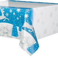 Silver Snowflake Holiday Plastic Party Tablecloth, 84 x 54in