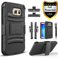 Galaxy S6 Edge Plus Case, Dual Layers [Combo Holster] Case And Built-In Kickstand Bundled With Circlemalls Stylus Pen (Black)