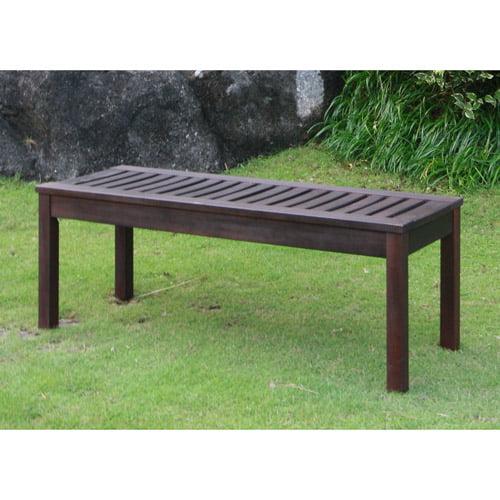 Delahey Backless Outdoor Garden Bench, Dark Brown, Seats 2